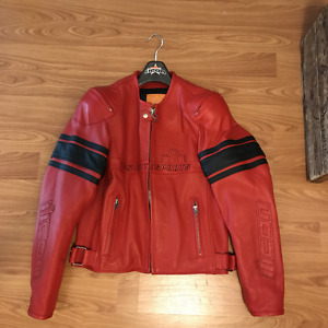 ICON. RED LEATHER JACKET: NEW
