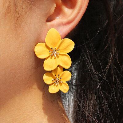 New Fashion Women Flower Boho Statement Big Alloy Dangle Drop Earrings Jewelry