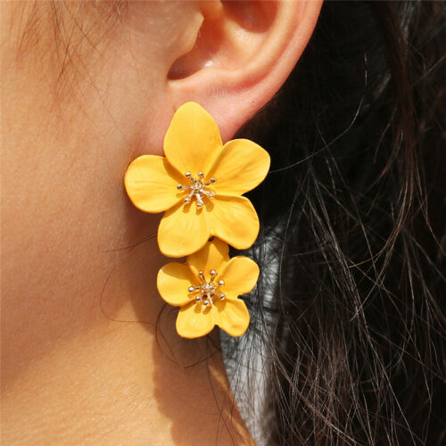 New Fashion Women Flower Boho Statement Big Alloy Dangle Drop Earrings Jewelry
