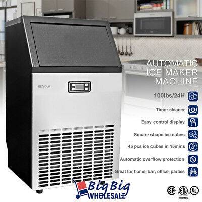LCD Commercial Ice Maker Machine Stainless Steel 45pcs / 15