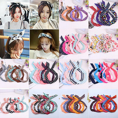 Vintage Women Cute Bow Rabbit Bunny Ear Ribbon Hair Band Wire Headband Wrap - Ears Headband
