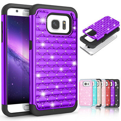 Glitter Bling Diamond Hybrid Phone Case Cover For Samsung Galaxy S6 S7 S9 Note