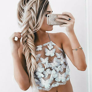 BRAND NEW Fully Embroidered Butteryfly Mesh Crop Top