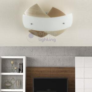 Plafoniera lampada soffitto design moderno vetro tortora bianco satinato bagno  eBay