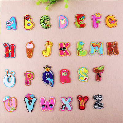 Cartoon Name Tags Embroidered Iron on Patch 26 Alphabet Letter Child Hat -