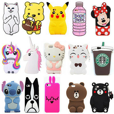 For Samsung Galaxy Phones 3D Cute Animals Cartoon Soft Silicone Case Back Cover