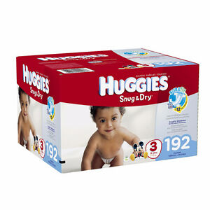 2 Boxes -  Size 3, Huggies Snug & Dry, 192 count! UNOPENED!!