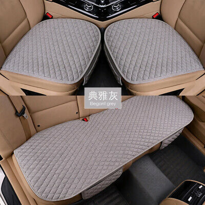 Linen Fabric Car Seat Cover Four Seasons Front Rear Flax Cushion Breathable Prot ()