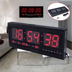 Digital Big LED Wall Desk ALARM Clock Calendar Temperature/Humidity Display