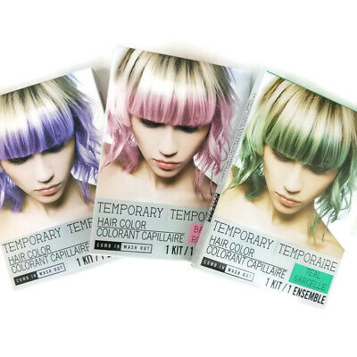 Halloween Temporary Hair Color Dye Wash Out Purple Pink Green Choose One 1 Kit