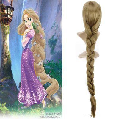 Princess Rapunzel Blonde Halloween Tangled Long Hair Cosplay Wig Hair+ Wig Cap](Rapunzel Halloween Hair)
