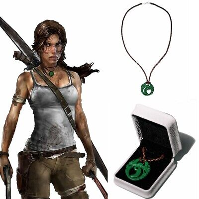 Tomb Raider Lara Croft Necklace Cosplay  Prop Pendant Braided Rope Gift Adult