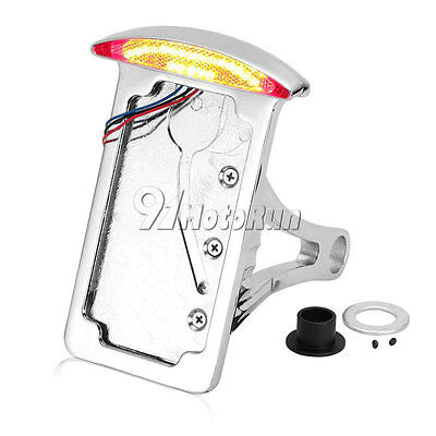MOTORCYCLE CHROME SIDE MOUNT LICENSE PLATE BRACKET TAIL LIGHT FIT YAMA