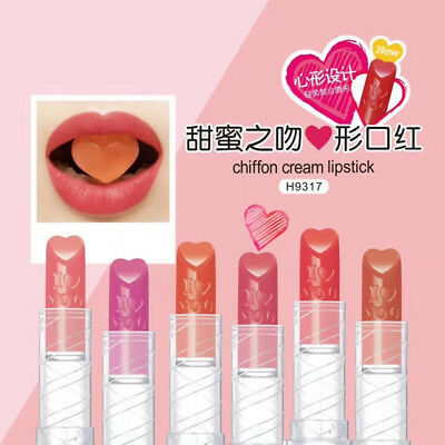 Korean Makeup Love Heart Long Lasting Nude Lipstick Lip Gloss Beauty Cosmetics @