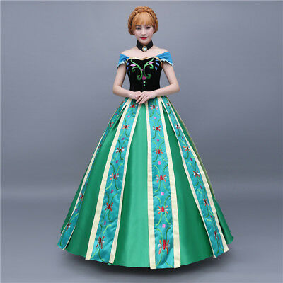 Frozen Anna Elsa Disney Cosplay Costume Kleid Kostüm Princess long dress B 2