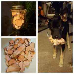 Homemade dehydrated sweet potato dog chews
