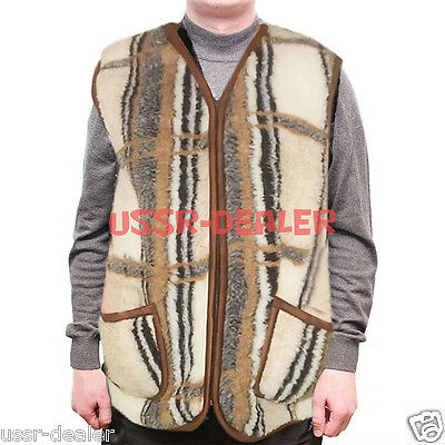 NATURAL MEN'S SHEEPSKIN FLEECE SHEEP WOOL VEST JACKET BOLERO PURE 100%](Mens Bolero Jacket)