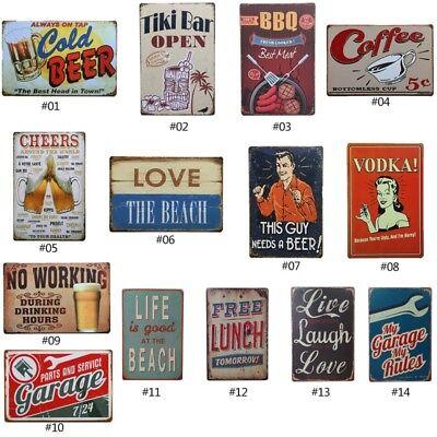 Bar Art (Vintage Tin Sign Garage Beer Bar Pub Home Wall Decor Retro Metal Art Poster)