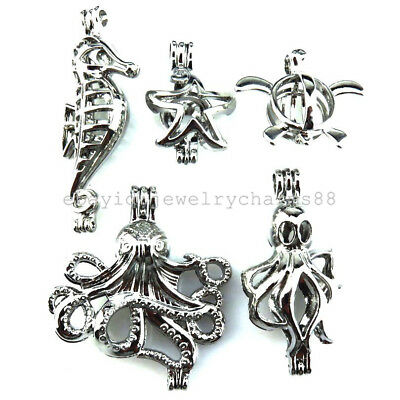 21693 5X/lot Mixed Silver Locket Sea Horse Starfish Octopus Turtle Pearl Cage