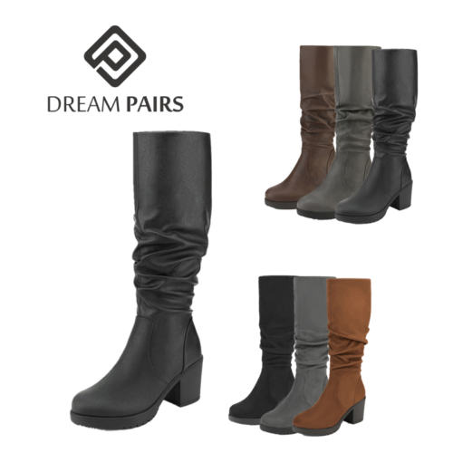 DREAM PAIRS Women Lady Chunky Heel Knee High Slouch Suede/PU