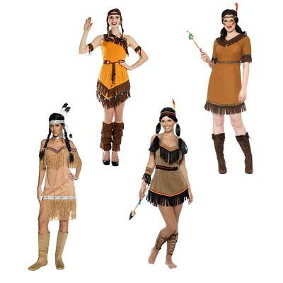 Indianerin Western Squaw Damen Kostüm mehrere Designs Indianerkostüm
