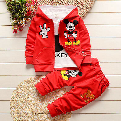 3 tlg Jungen Mädchen Baby Mickey Mouse Dick Kapuzenpullover Jogginganzug Outfits