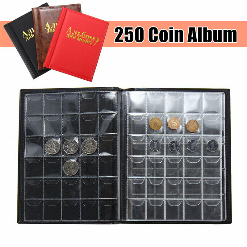 250 Coin 10 Pages Holder Collection Storage Case World Coin Pocket Album Book