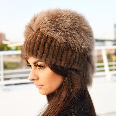 Chocolate Mink Fur Hat With Fox Fur Top ()