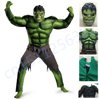 The Avengers Hulk Muscle Mask Costume boys Cosplay kids Carnival Fantasy Clothes - Kids Hulk Costumes