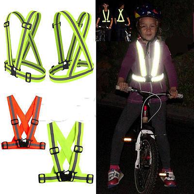 Kids Adults Adjustable Security Visibility Reflective Vest Gear Stripes Jacket