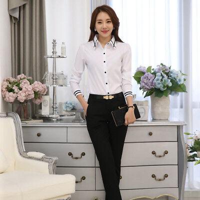 Female Long-sleeved Polyester Shirt Spring New Korean Slim Collar Blouse (Korean Spring)