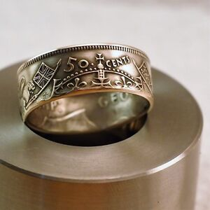"1938 ""SILVER""  Canadian Half Dollar Coin Ring"