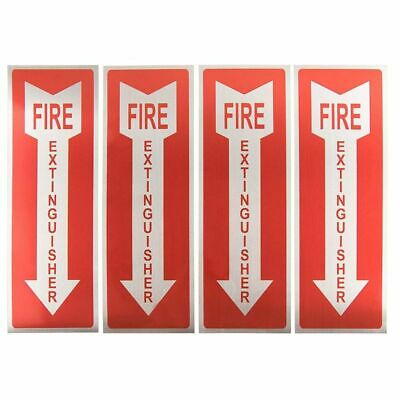 4-pack Fire Extinguisher Signs Stickers Arrow Symbol Aluminum 3.9 X 11.75 Inches