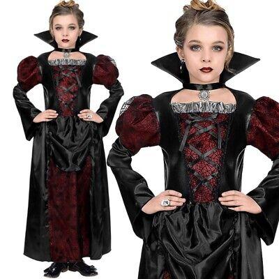 r Vampirin Kinder Mädchen Kostüm - Kleid - Halloween 128-158 (Vampir-mädchen Kostüme Kinder)