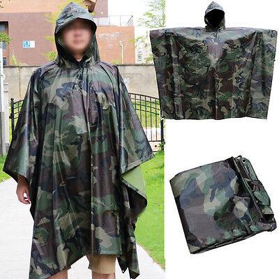 2IN1 Rain Coat Travel Hoodie Waterproof Poncho Hiking Gear Survival Backpacking