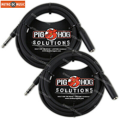 "2-Pack Pig Hog 10 ft Headphone Extension Cable 1/4"" Stereo TRS Male Female Cord, used for sale  Shipping to India"