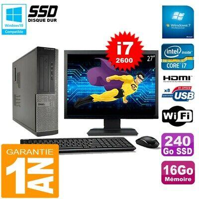 PC DELL 3010 DT Core I7-2600 Ram 16Go Disque 240 Go SSD Wifi W7 Ecran 27