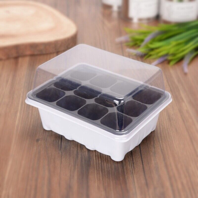 FiedFikt 6//12 Hole Plant Seed Grow Box Nursery Seedling Starter Seed Planting Box Garden Yard Tray Seed Starting Pot Flower Plant Container Garden Planting Tray 4PCS A