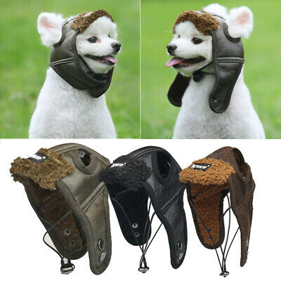 Dog Aviator Hat (Fashion Pet Dog PU Leather Hat Cap Aviator Helmets Vintage Windproof Winter)