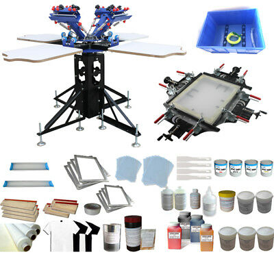 4 Color 4 Station Screen Printing Kit Screen Stretcher Manual Tools Supply