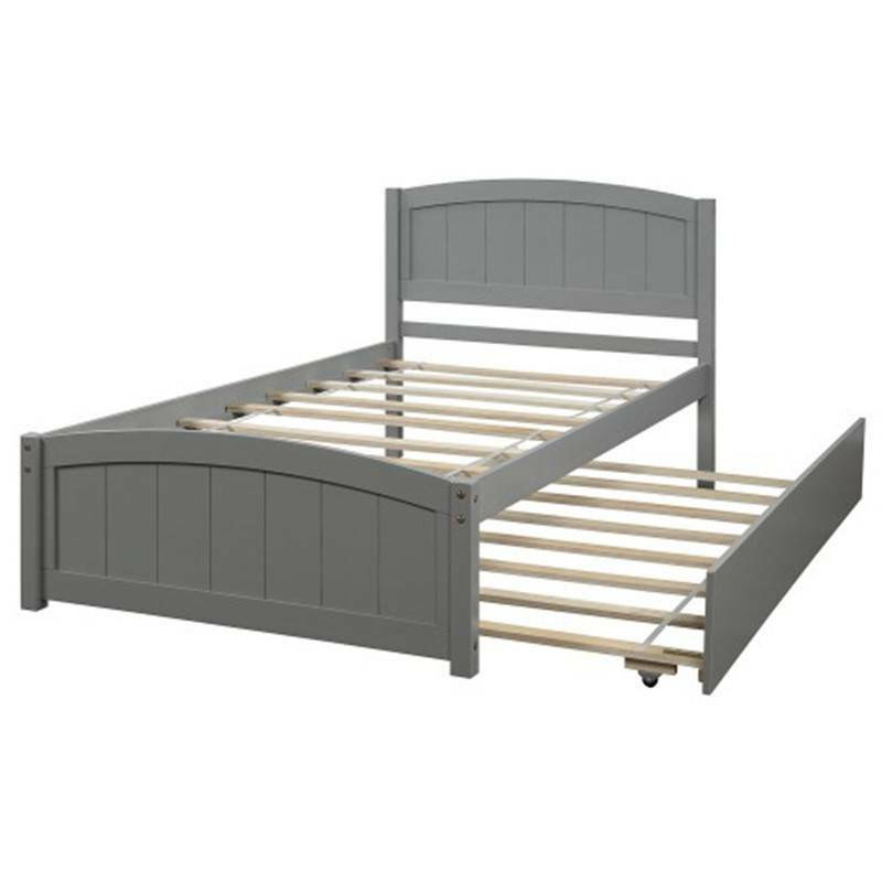 Twin Size Platform Bed with Trundle Wooden Slats Home Furnit