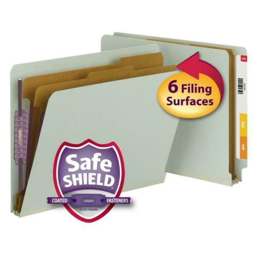 Smead EndTab Pressboard Classification Folder 2 Dividers, Letter Size, Box of 10