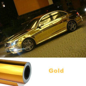 CA-Bubbles-Free-12-x60-Car-Mirror-Chrome-Gold-Metallic-Sticker-Film-Sheet-Wrap
