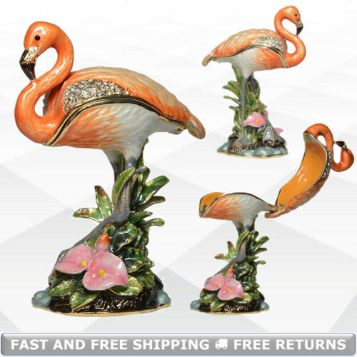 Flamingo Bird Jewelry Trinket Box With Hinged Lid Enamel Jeweled Crystals Casket