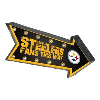 Pittsburgh Steelers Arrow Marquee Sign - Light Up - Room Bar Decor NEW 18