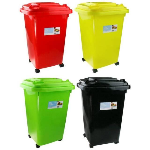 60l Plastic Wheelie Storage Bins Kids Toy Storage