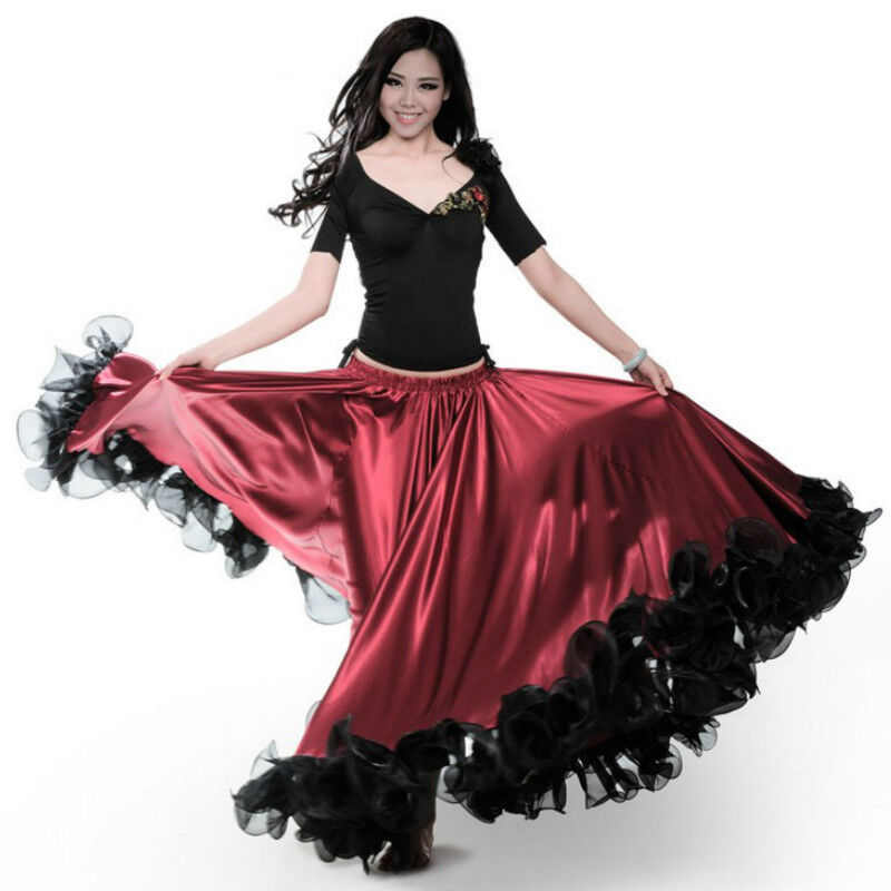 Flamenco Modern Dance Swing Skirt Ruffle Elastic Waist Ballroom Costume Slim New