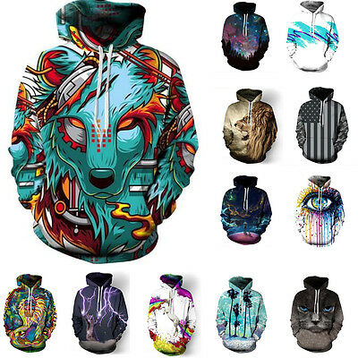 Men's 3D Leisure Graphic Animal Printed Sweatshirt Pullover Hoodies Tops New