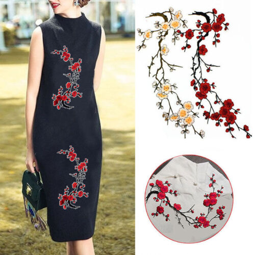 Plum Blossom Flower Applique Clothing Embroidery Patch Fabric Sticker Iron On Pa