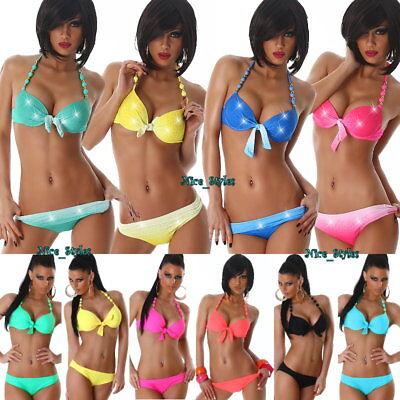 Neckholder Push Up Bikini Badeanzug Strass Kunstperlen*XS S M L XL-34 36 38 40 - Perlen Bikini-badeanzug
